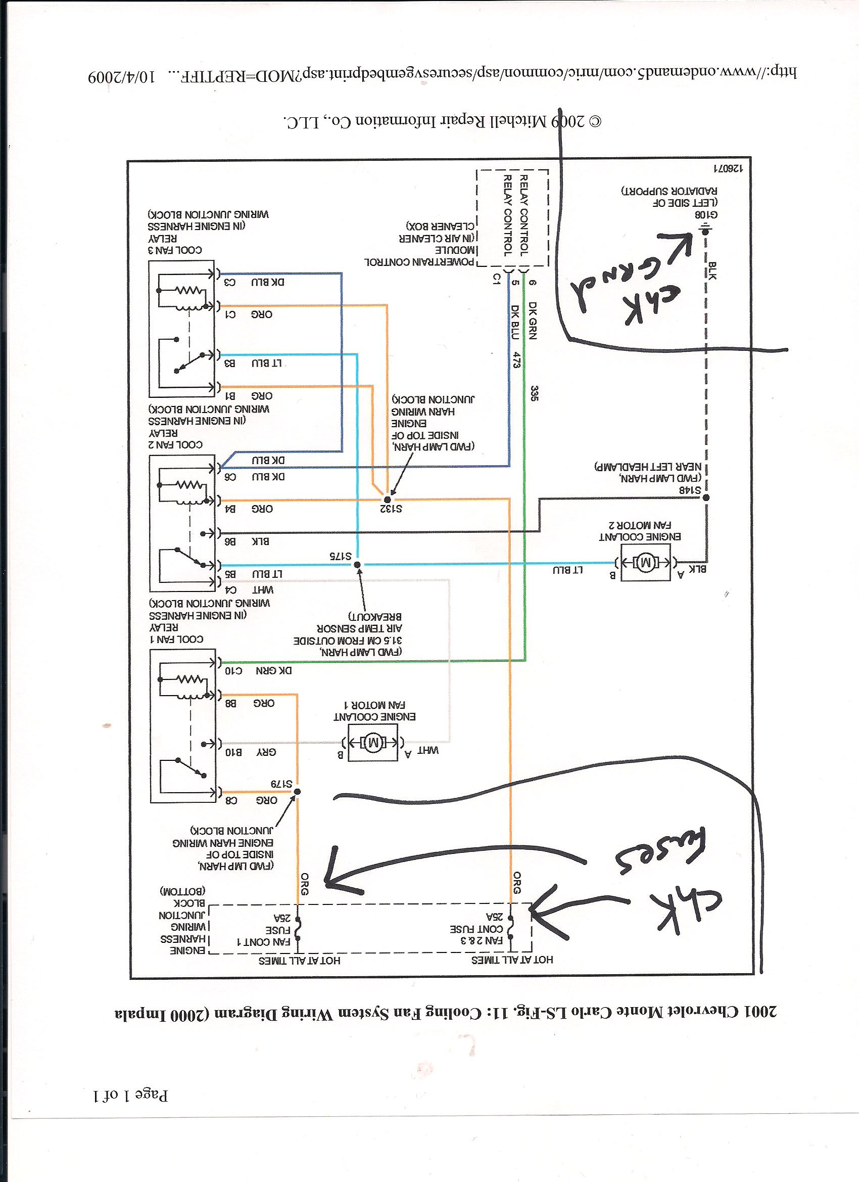 I have a 2001 i replaced the radiator water pump t stat and ...  Monte Carlo Wiring Diagram Temp Sensor on