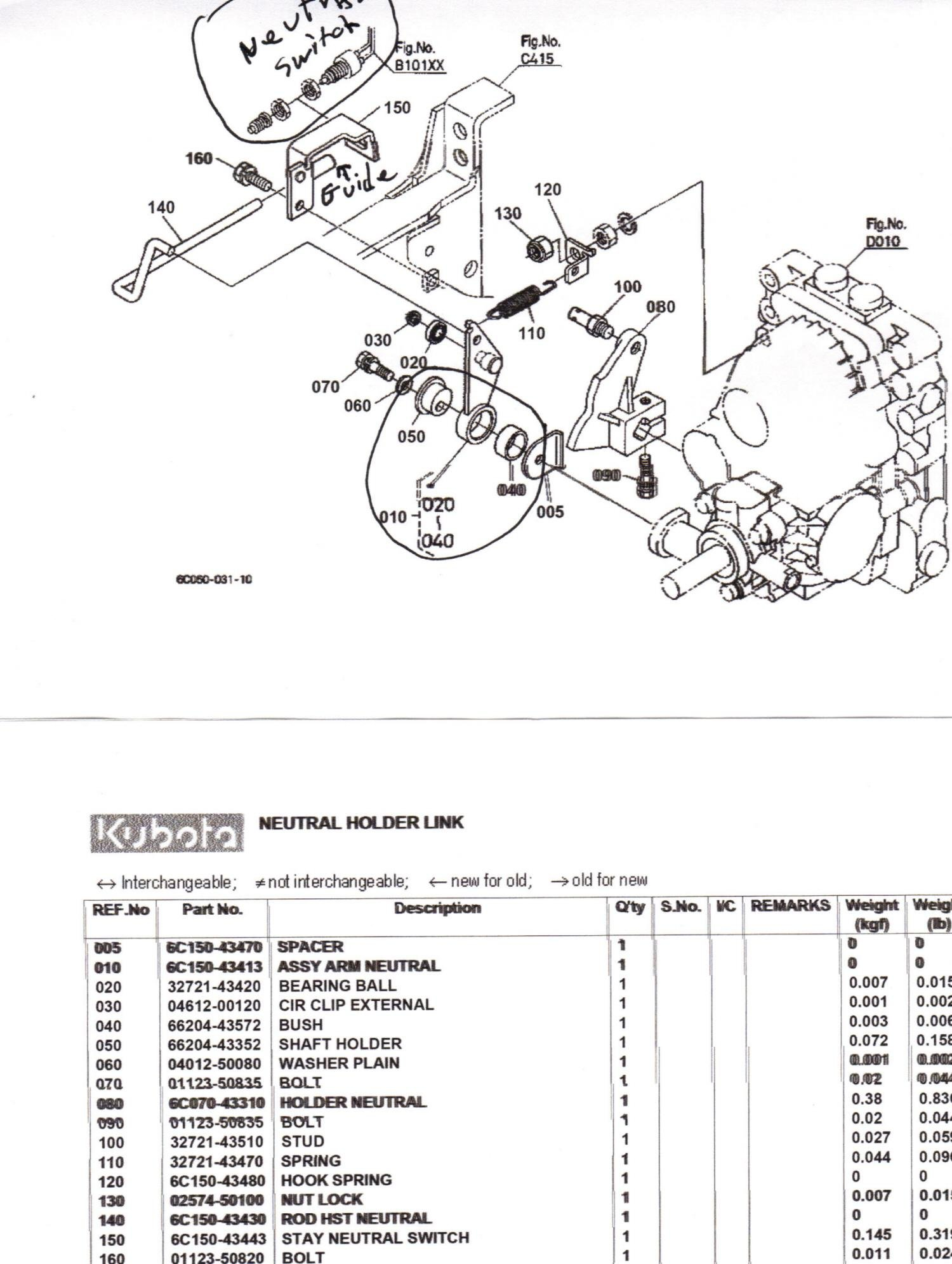 4a8gc Kubota B7500 Hst 4wd Tractor Speed Direction Pedal Sticky on b26 kubota parts diagram
