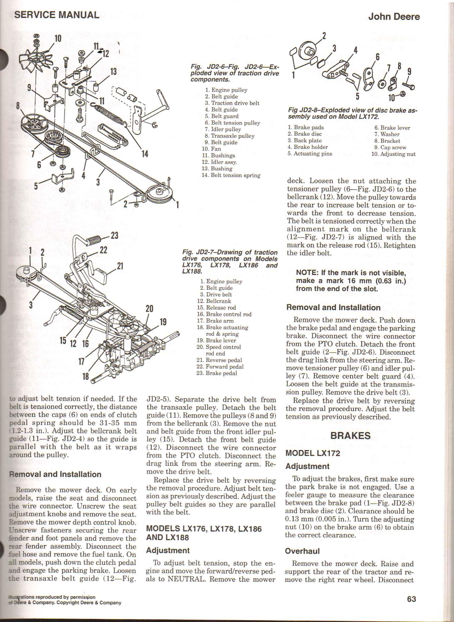 how do change drive belt on lx188 rh justanswer com John Deere LX188 Repair Manual John Deere LX188 Mower Deck