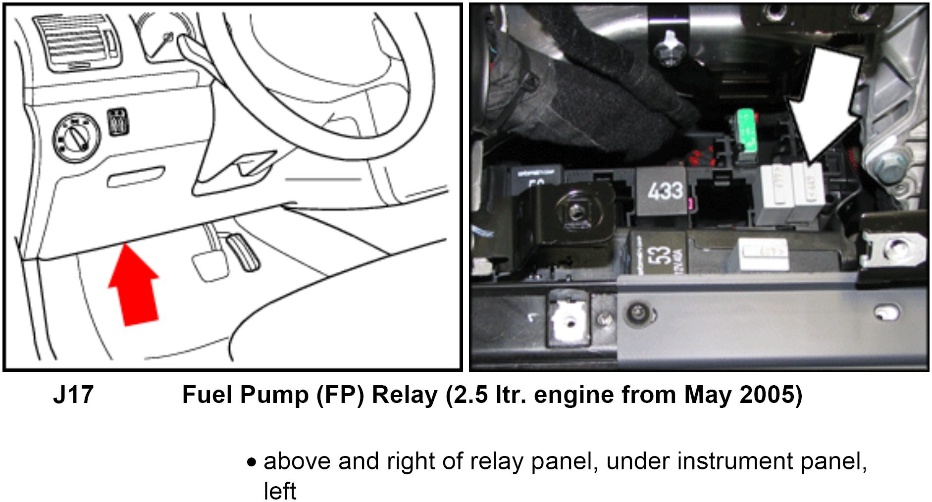 where is the fuel pump relay located in the 2010 vw jetta