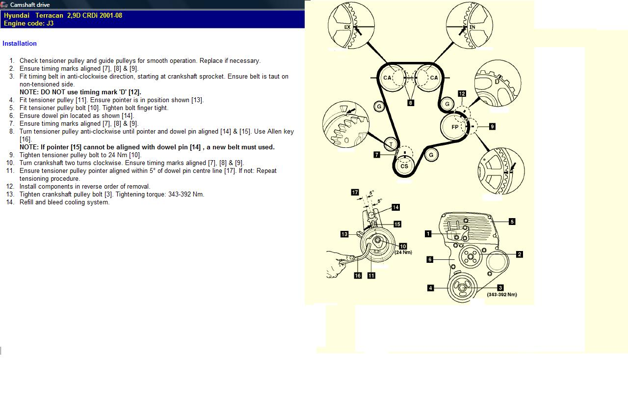 Hyundai Terracan 29crdi Eng We Would Require The Timming Marks Of Timing Belt Engine Diagram Graphic
