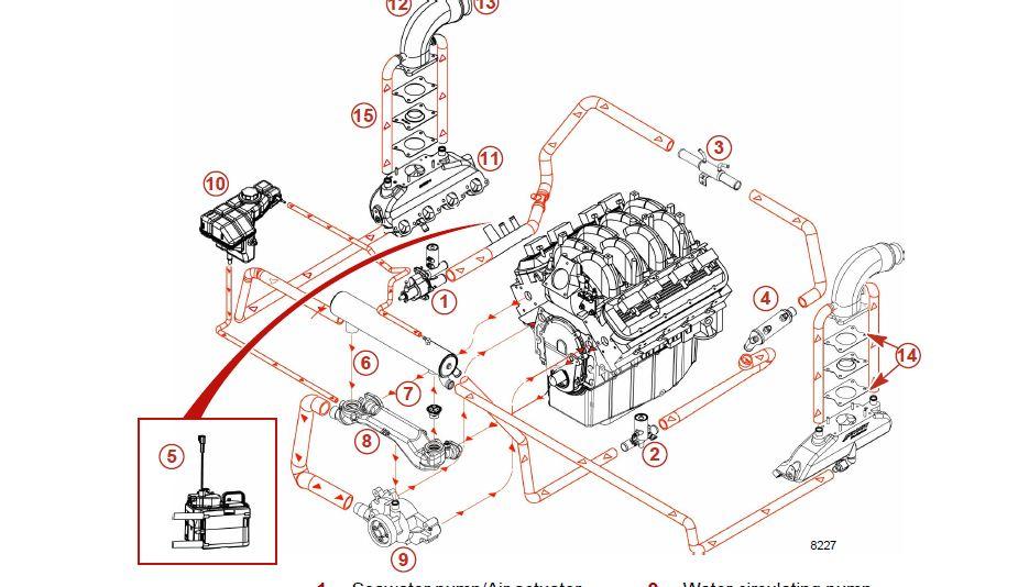 496 425 hp mercruiser water replacement