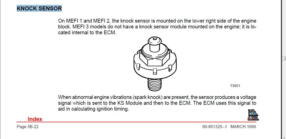 Will disconnect knock sensor wire cause 7 4 1999 mefi 3 mpi gen vi