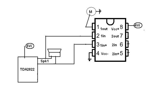 i am using a tda2822m circuit to amplify music  the output of this circuit is two speaker