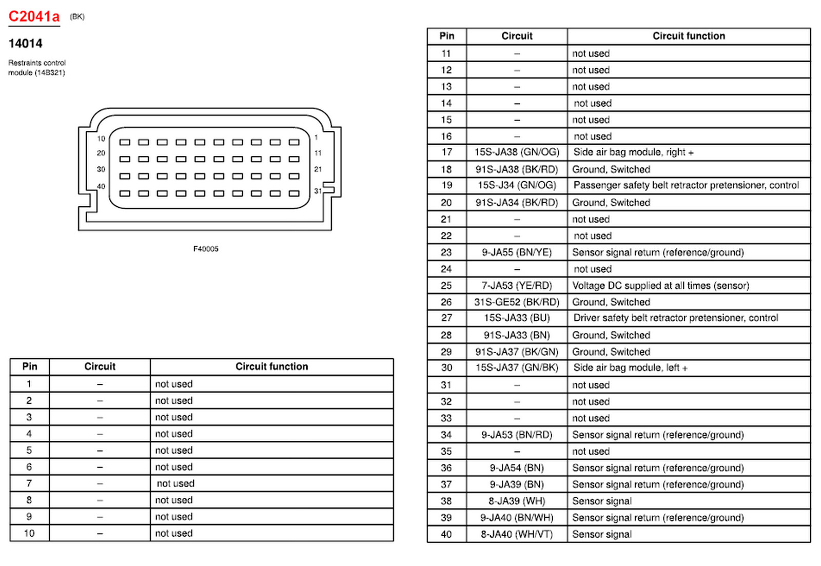 ford srs wiring diagram
