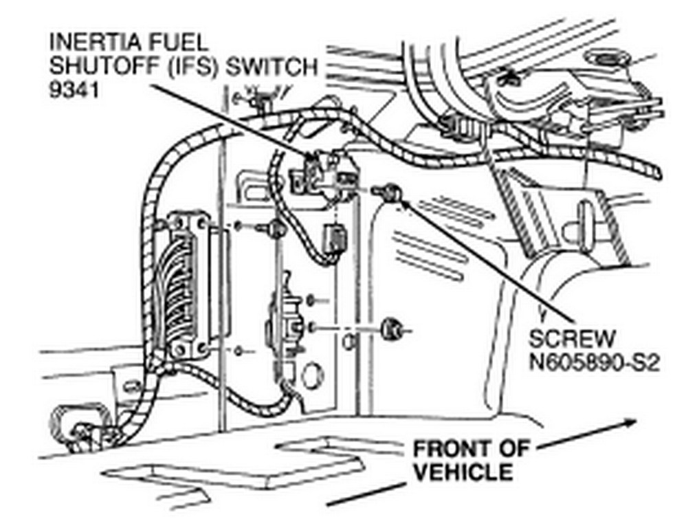 ford ranger inertia switch location