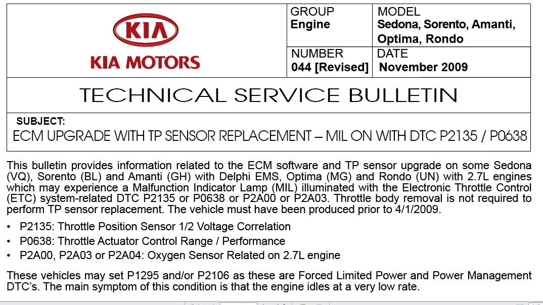 2007 Kia Sorento engine light comesthe check engine lightrecall