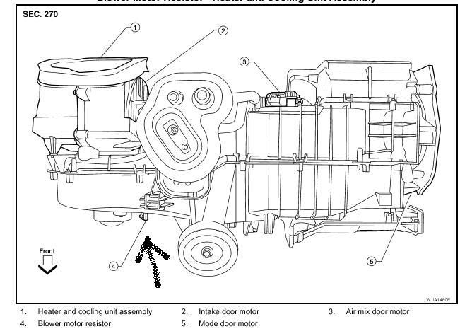 2007 nissan pathfinder blower motor location