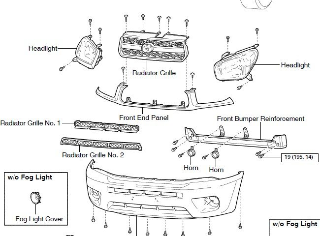 service manual  diagram of removing a grill from a 2004