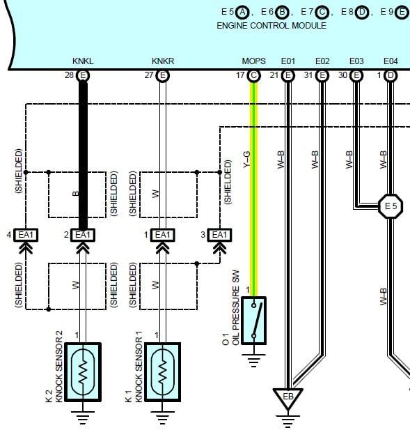 knock sensor wire diagram 2002 rx300 code for both knock sensors po323 po325b will not go  2002 rx300 code for both knock sensors