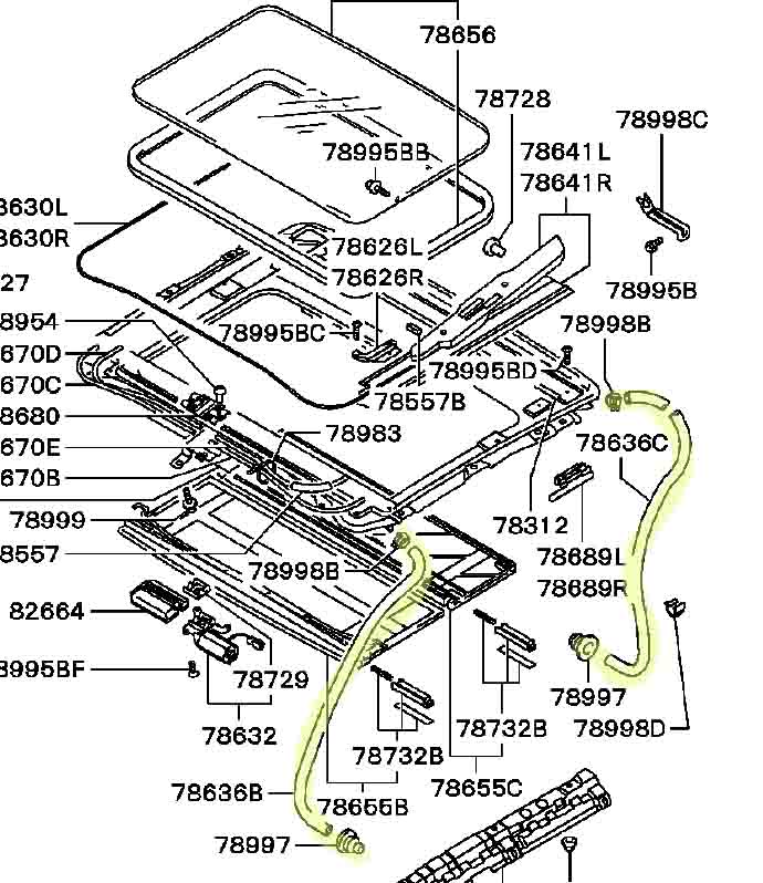 2000 mitsubishi eclipse sunroof diagram