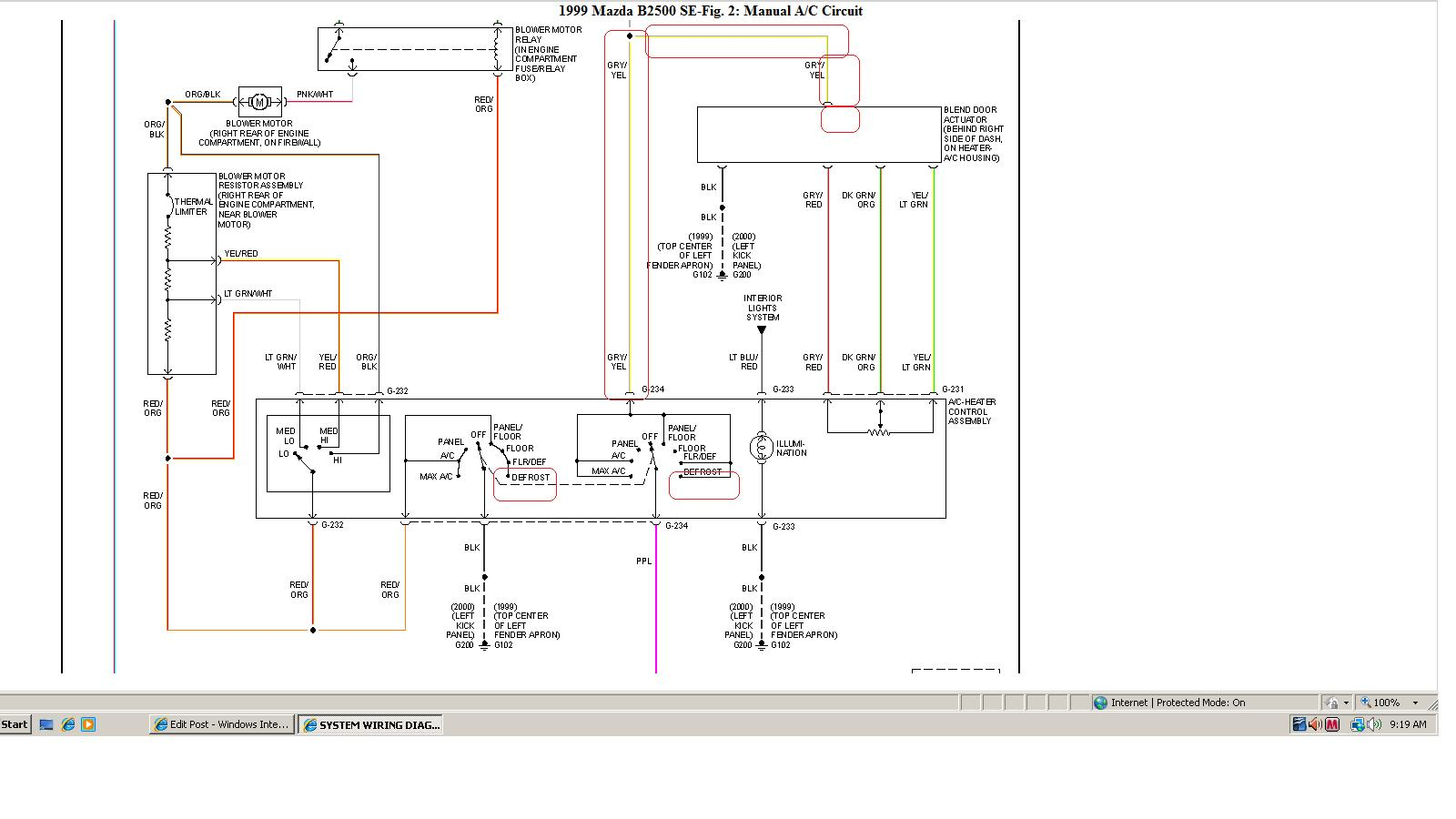 1999 Mazda B2500  Ventilation Mode Select Switch Has