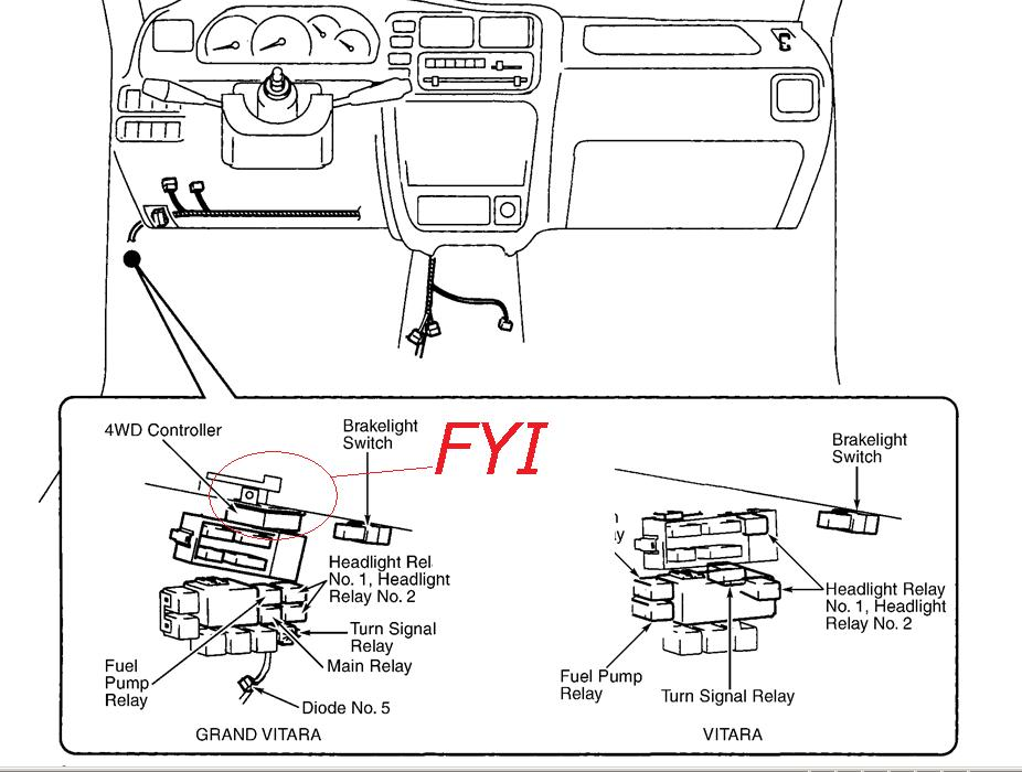 2006 grand vitara fuse diagram i have a 2000 grand vitara 2.5 v6 the 4 wheel drive light ... 2006 suzuki grand vitara fuse box
