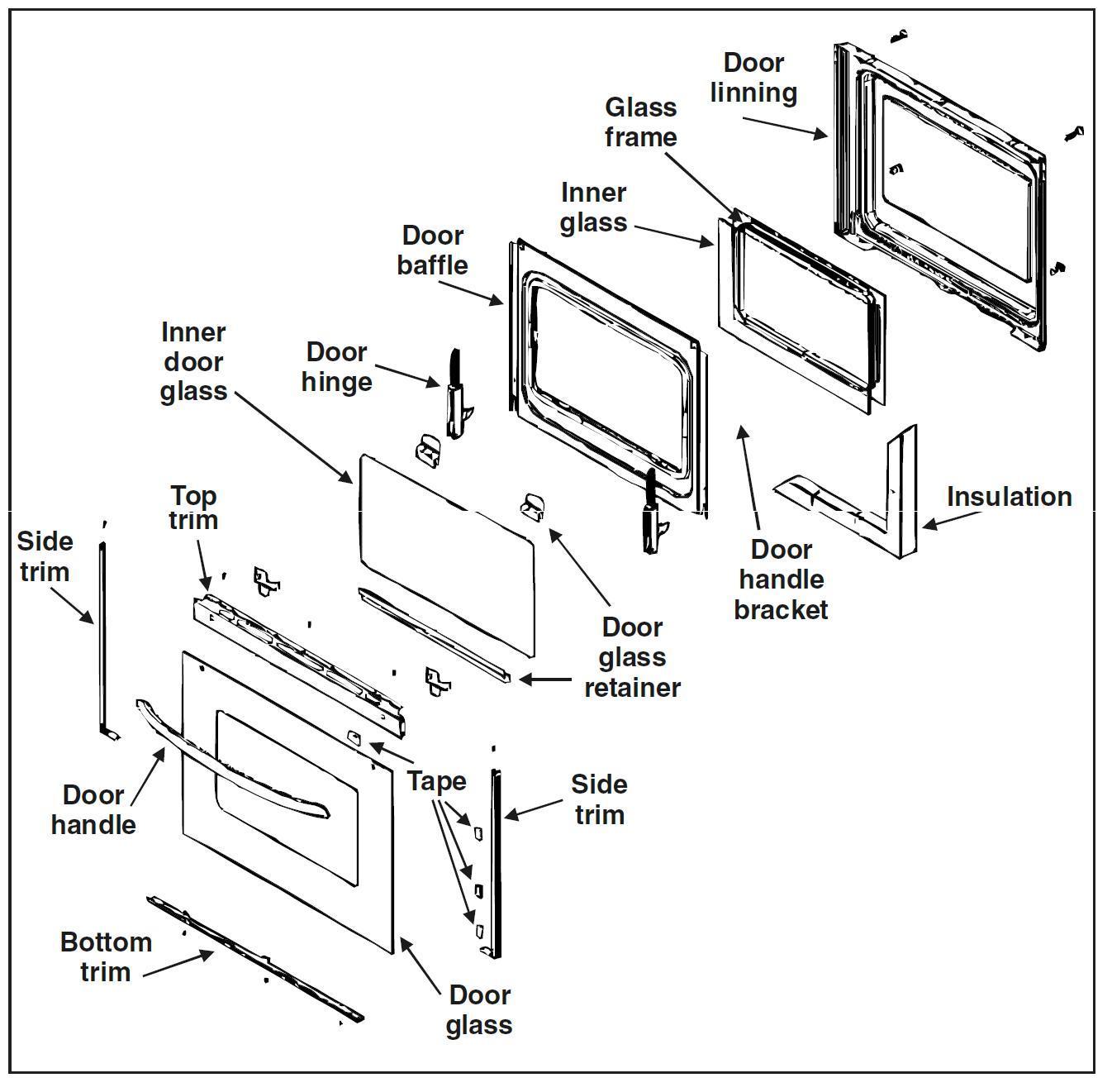 Replacement Oven Door Glass   Inner Glass Oven Door Gallery Glass Door  Interior Doors U0026 Patio