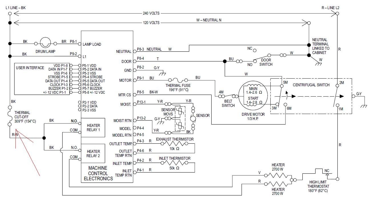 I Have An Electric Dryer That Has No Powerno Cycleno Lightnothing 120 240 Volt Wiring Diagram Full Size Image