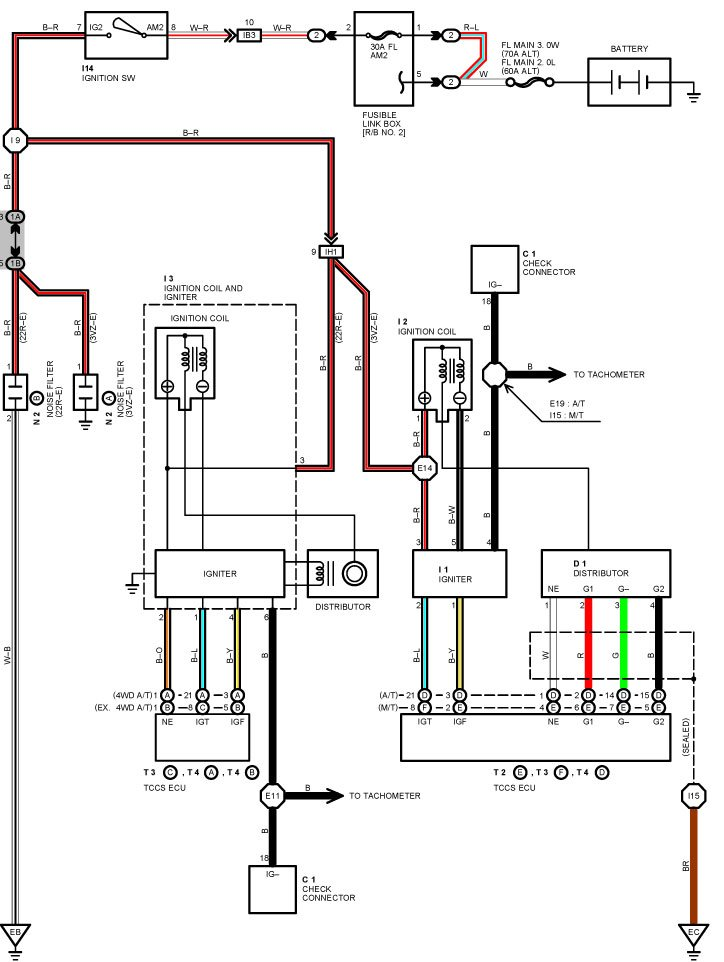 89 toyota pickup ignition wiring diagram  toyota  auto