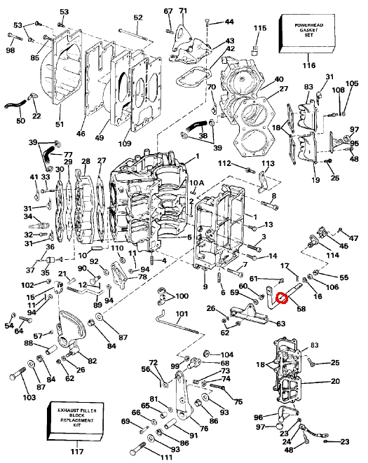 J Powerhead on 90 Hp Johnson Outboard Parts Diagram