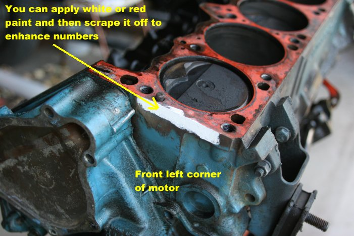 When looking for the block casting number on my truck engine