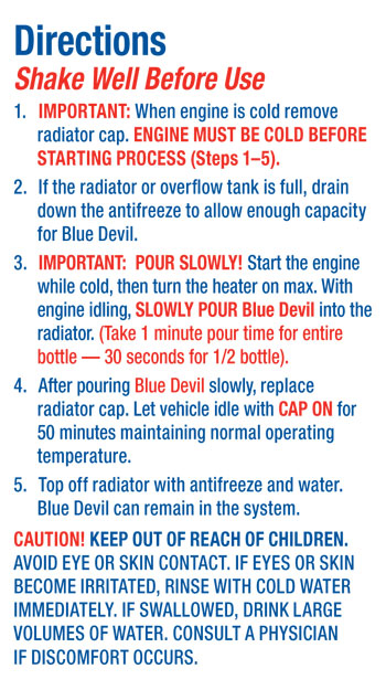 Blue devil head gasket repair instructions